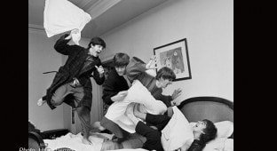 The Beatles have a pillow fight by Harry Benson