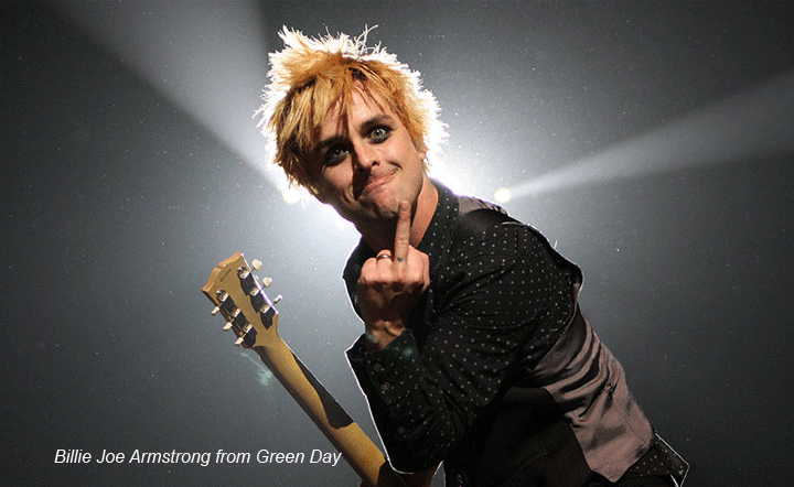 Billie Joe Armstrong flipping finger