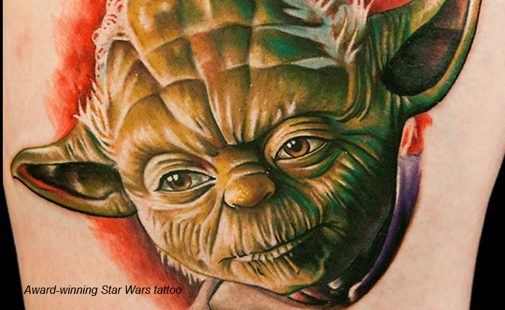 An award-winning Tattoo of Yoda from Star Wars