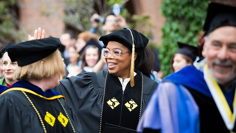 Oprah Winfrey at Smith College in 2017 which Oumou Kanoute accuses of institutional racism